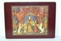 """Vtg Lady Clare Hunt Of The Unicorn Tapestry Placemat 12"""" Hard Felt Back England"""