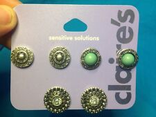 Three Pairs Of Claire's Silvertone And Turquoise Colored Pierced Earrings