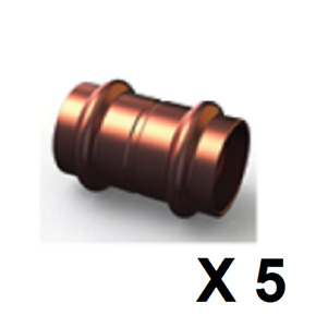 Bag 5 Copper Press Fitting, Straight Coupling Joiner 25mm WATER (CN1-25)