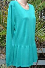 Rockmans Jalpeno Green Knit TOP Size XL-18 NEW L/S Frill HEM. Zip Trim RRP$39
