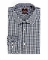 Mens 16 1/2 34/35 Alfa Perry Extra Slim Fit Black Gingham Check Spread Collar...