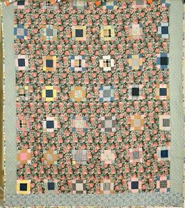 "BEAUTIFUL Vintage 30's ""Counterpane"" 9-Patch Variation Antique Quilt!"