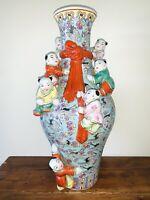 Antique 19th Century Chinese Porcelain Longevity Fertility Vase 18 Inch Signed