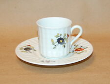 Richard Ginori White Fluted Multi Color Flower Spray Demitasse Cup and Saucer