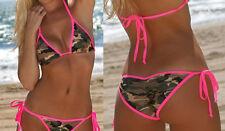 SeX Neckholder Triangel Scrunch Camouflage Neonpink Bikini gepolstert XS S M L X