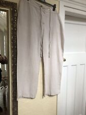 MARKS & SPENCER FLAX LINEN RUGBY STYLE WIDE LEG TROUSERS SIZE 22 MEDIUM