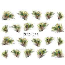 NAIL ART STICKERS WATER DECAL NAIL TRANSFER WRAPS PEACOCK FEATHER RETRO STZ013