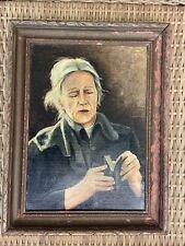 New ListingAmerican Folk Art Oil Painting Primitive Portrait Woman Reading Praying Antique