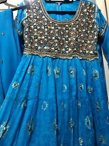 "2 Pcs Indian Pakistani Salwar Kameez Anarkali Suit Size 36"""