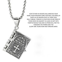 Genuine S925 Sterling Silver Cross Bible Prayer Pendant Necklace Sweater Chain