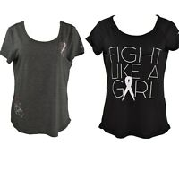 Lot of 2 Ideology Womens Pullover Tshirts Size M Black Gray Roll Sleeve NWT