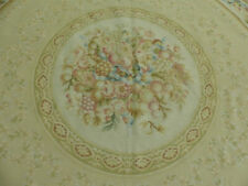 8' Square Country French Aubusson Stunning Fruits flowers Hand Knotted wool rug