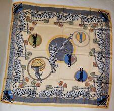 Vintage Foulard Cartier gelb blau grau mit Panther
