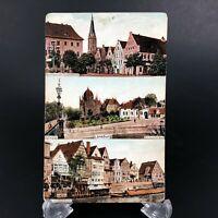 VTG RPPC Postcard Luneburg Germany Street Scene Church Schifferwall Stintmarkt