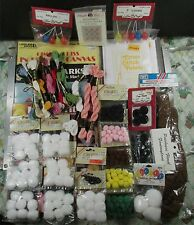 Lot of All New Craft Supplies Skeins Pom Poms Booklets Plastic Hats Balloons +