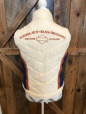 Harley Davidson Puffer Vest Embroidered RARE Womens M Retro Lined Warm Orange