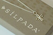 "Silpada NIB Cubic Zirconia Sterling Silver CZ ""Cross My Heart"" Necklace N3351"