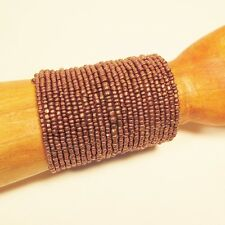 "3"" Wide Copper Color Handmade Boho Seed Bead Bali Cuff Statement Bracelet"