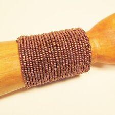 "3"" Wide Copper Color Handmade Boho Seed Bead Bali Cuff Statement Bracelet"