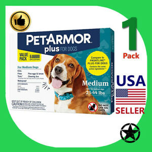 1 Pack PETARMOR Plus Flea and Tick Prevention for Medium Dogs 23-44 lbs 6 App