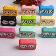 Hot sale Travel Mini Eye Shape Contact Lens Case Box Container Tweezers Set EW