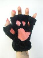 Mitaines peluche fourrure pattes animal chat noire coussinets roses gants