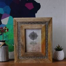 Silver Wood Carved Photo Frame, 5x7in Picture Gift Decor Wall Home