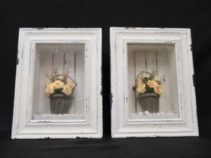 Set of 2 Shadow Boxes with Flower Baskets Distressed Rustic Farmhouse White Wash