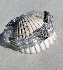 "Clear Quartz & Silver Gemstone Crystal Bracelet ""Eternal Ice"""