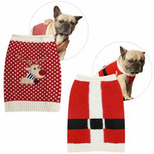 Dog Christmas Xmas Jumper For Small Medium Dogs Pug French Bulldog Santa Coat