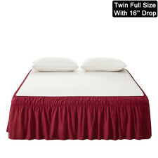 """Mohap Red Bed Skirt 16"""" Drop Dressing Dust Ruffle Wrap Around Bed Twin Full Size"""