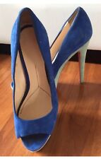 Steve Madden Blue Teal Mint Green Colorblock Heels Shoes. Peep Toe. Suede Size 7