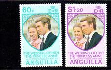 ANGUILLA #179-180  1973  PRINCESS ANNE WEDDING        MINT  VF NH  O.G  b
