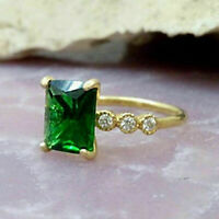 1.20 Ct Emerald Cut Green Emerald Engagement Wedding Ring 14K Yellow Gold Over