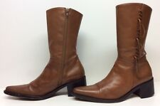 WOMENS ANDREA BERTOCCO FRINGE COWBOY LEATHER BROWN BOOTS SIZE 6