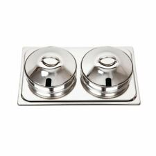 More details for olympia bain marie set in silver to use with k409 water pan - 2x pots - 4l