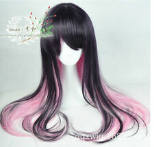 Harajuku Style Lolita Deep Purple Color Gradient Pink Long Curly Hair Wig