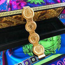 vintage GIANNI VERSACE SIGNATURE Gold Plated Medusa Head Bracelet Watch w/ box