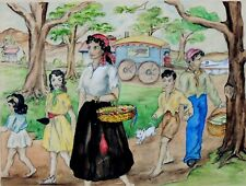 The Gypsy Girl and her Family, Woman Artist ca. 1940, Signed, Good Colors