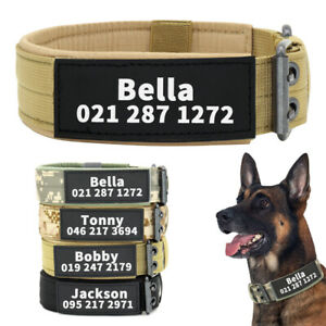 Tactical Dog Collar with Custom Reflective Name Patch Personalized Black Camo XL
