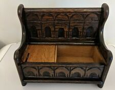 More details for vintage wooden dark oak medieval style church pew musical box
