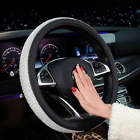 Auto 38cm PU Leather Bling Rhinestone Diamond Car Steering Wheel Cover Skidproof