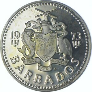 Better Date - 1973 Barbados 5 Dollars - SILVER *577