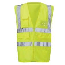 Hi-Vis Executive Zipped Front  Waistcoat (HVWPKT) Yellow - 4XL  phone pocket etc