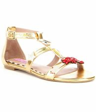 NIB Betsey Johnson Jossy Sandals Metallic Gold Embellishments Women's Size 7.5