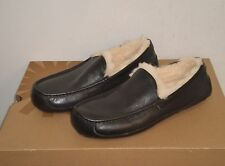 UGG Australia Men's LEATHER ASCOT Slippers Shoes 10US BLACK NWOB $120 MSRP
