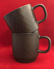 Set of 3 Starbucks 2013 12 oz Brown Espresso Diamond Pattern Coffee Tea Mug Cups