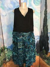 S.L. FASHIONS PLUS 24W BLACK/TEAL SURPLICE LAYERED SLEEVELESS BELOW KNEE DRESS