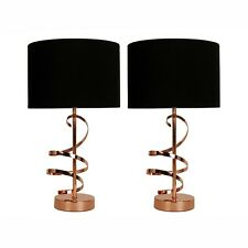 Pair of Modern Copper Swirl Bedside Table Lamp Lights Lounge Home Lighting NEW