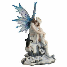 "8"" Snow Fairy w/ Penguin Statue Figure Sculpture Fantasy Home Decor"